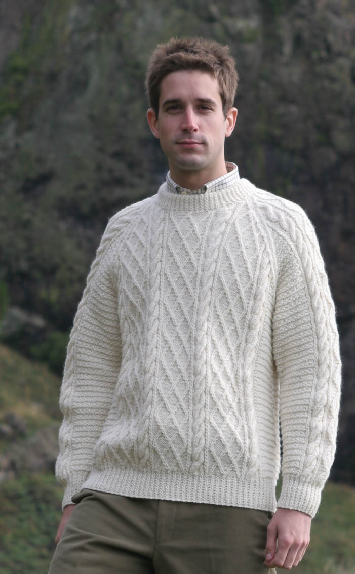 Mens Hand Knitted Luxury Aran Sweater - Cairngorm by Scotweb