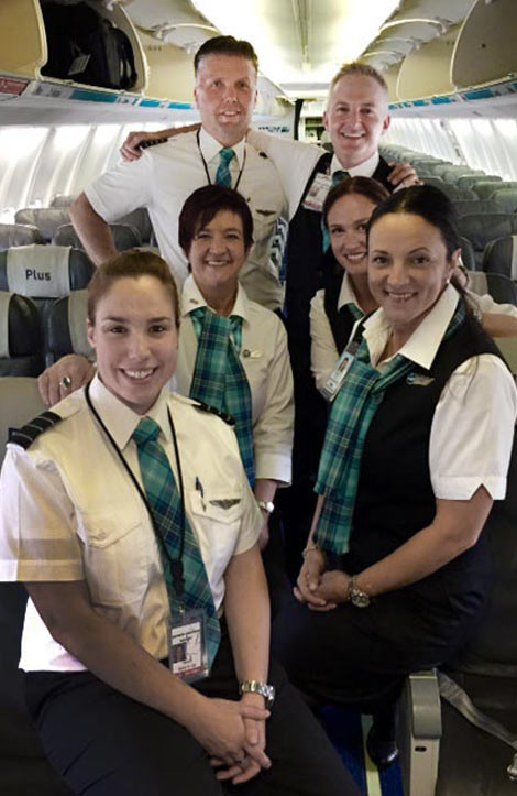 Westjet DC Dalgliesh tartan staff uniforms