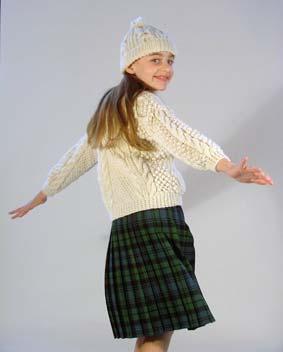 Girl's Aran Cardigan Kilt outfit