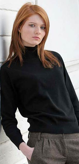 ladies cashmere polo neck jersey