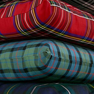tartan and plaid furnishings, curtains, cushions, tablewares