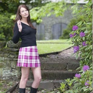 Short tartan and tweed skirts