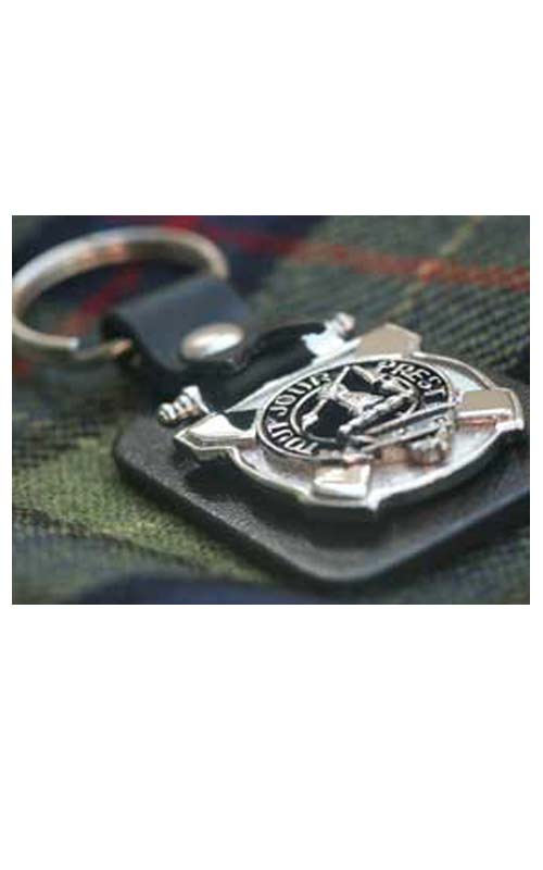 Leather Key Fob Scottish Family Clan Crest Colquhoun Made in Scotland