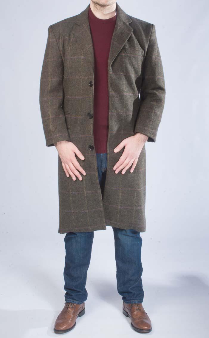 Tweed overcoat men