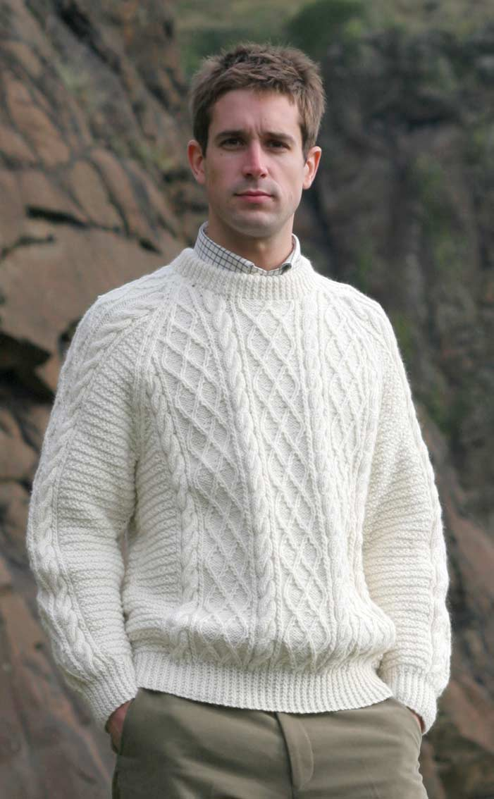 4be259bf2037b Gents Hand Knitted Luxury Aran Sweater - Cairngorm by Scotweb