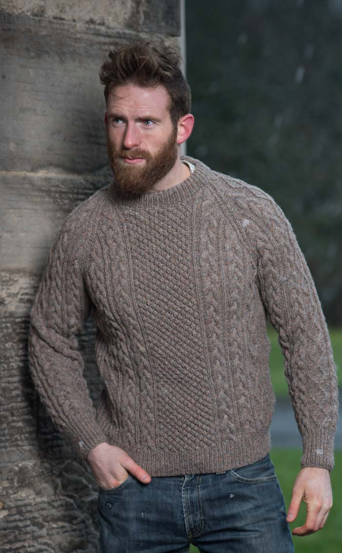Mens hand knitted luxury aran sweater cairnwell by scotweb mens hand knitted luxury aran sweater cairnwell bankloansurffo Gallery