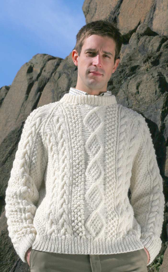 Free Mens Aran Jumper Knitting Pattern : Gents Hand-Knitted Luxury Aran Sweater - Moorfoot by Scotweb