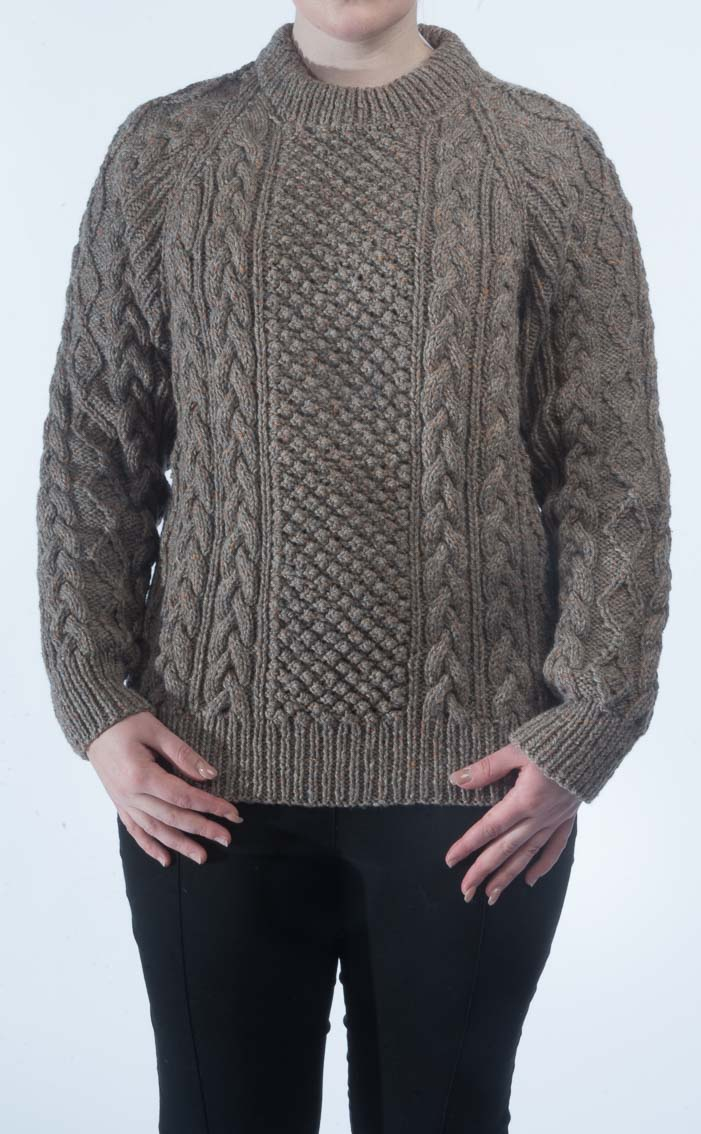 Ladies Luxury Hand Knitted Aran Sweater Donegal By Scotweb