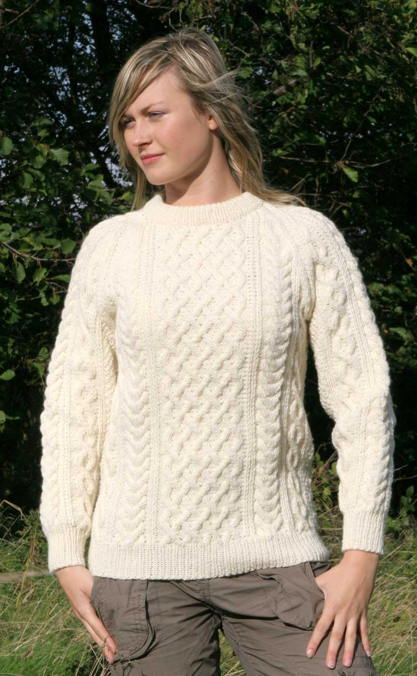 Hand Knitting Patterns For Ladies Cardigans : Ladies Luxury Hand-Knitted Aran Sweater - Torridon by Scotweb