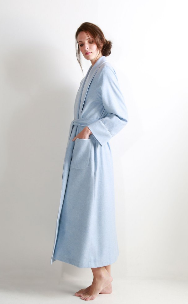 Ladies Cashmere Dressing Gown With Jacquard Silk Lining By