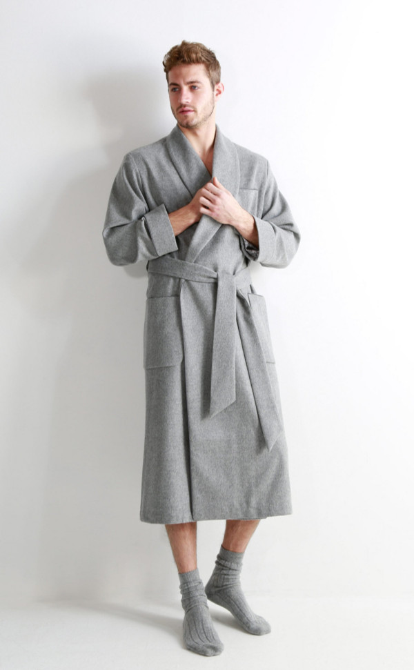 6dba006bf87b6 Mens Cashmere Dressing Gown with Jacquard Silk Lining by Scotweb