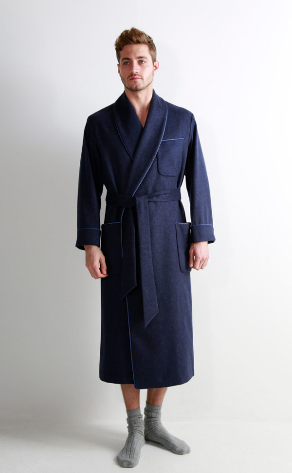 Mens Cashmere Dressing Gown with Jacquard Silk Lining by Scotweb