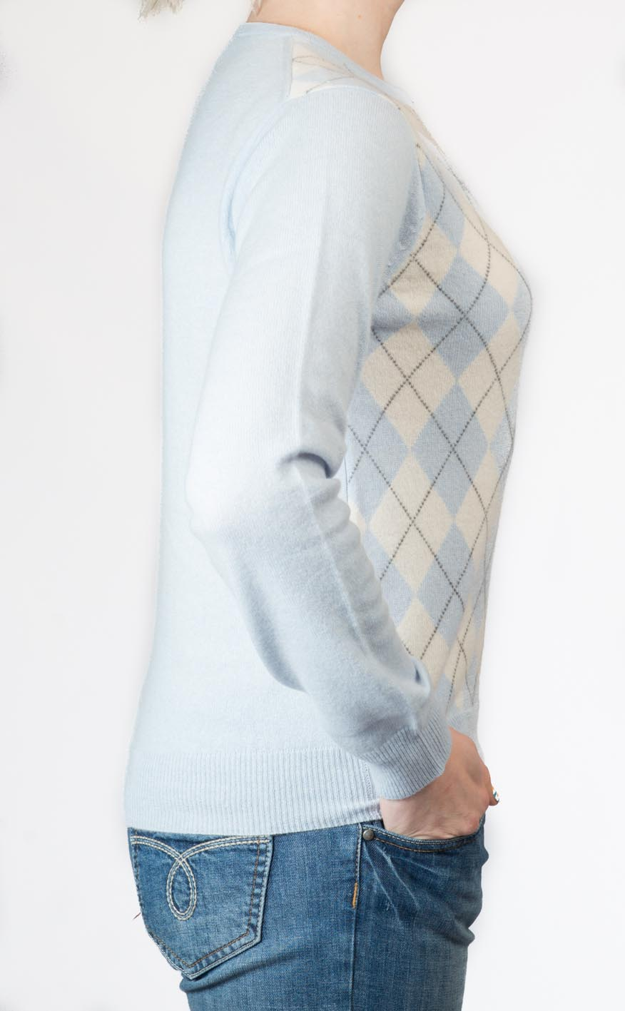 Ladies Cashmere Argyle Crew Neck Sweater by Scotweb