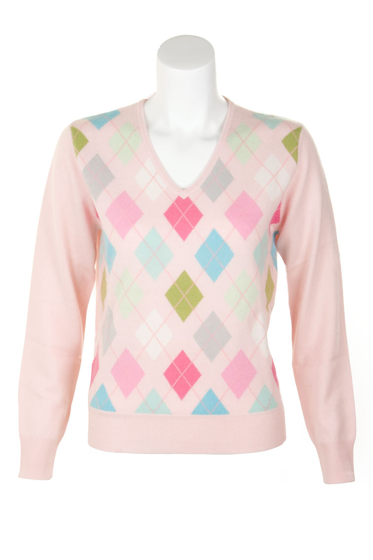 Ladies Cashmere Argyle V-Neck Sweater by Scotweb