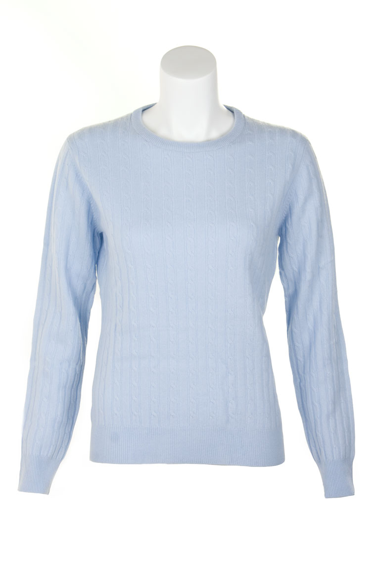 Ladies Cashmere Cable Crew Neck Sweater by Scotweb