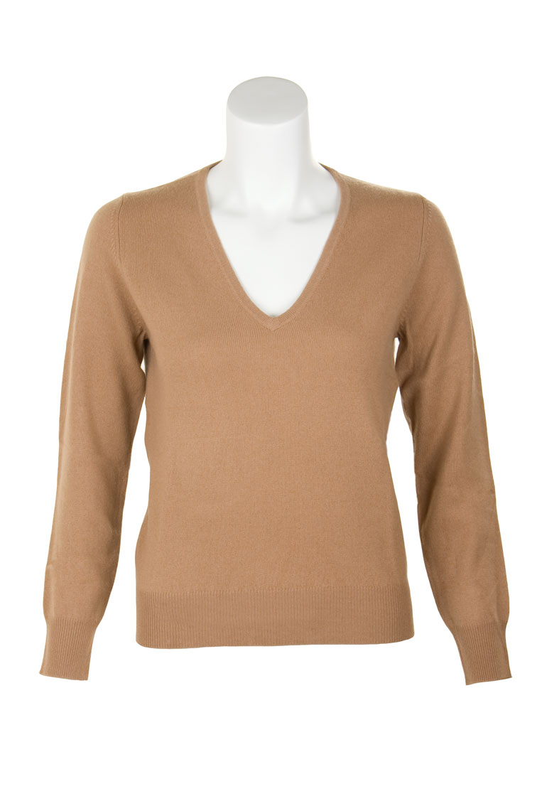 Ladies Cashmere V-Neck Sweater by Scotweb