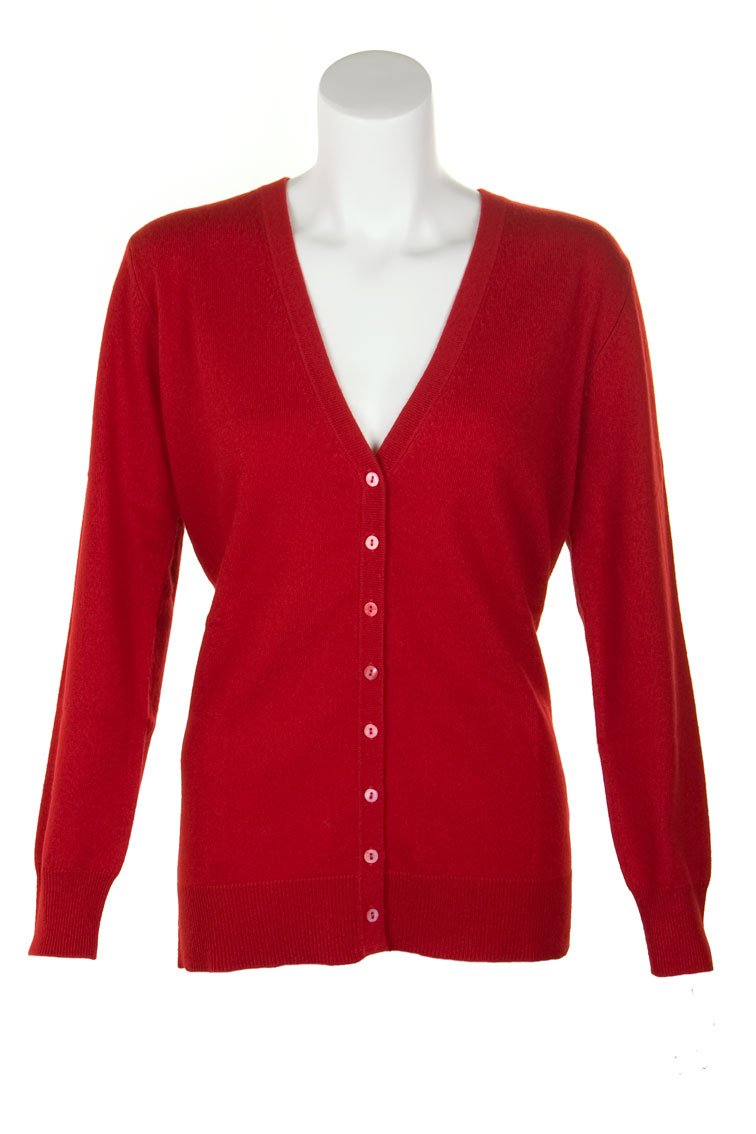 Ladies Cashmere V-Neck Cardigan by Scotweb