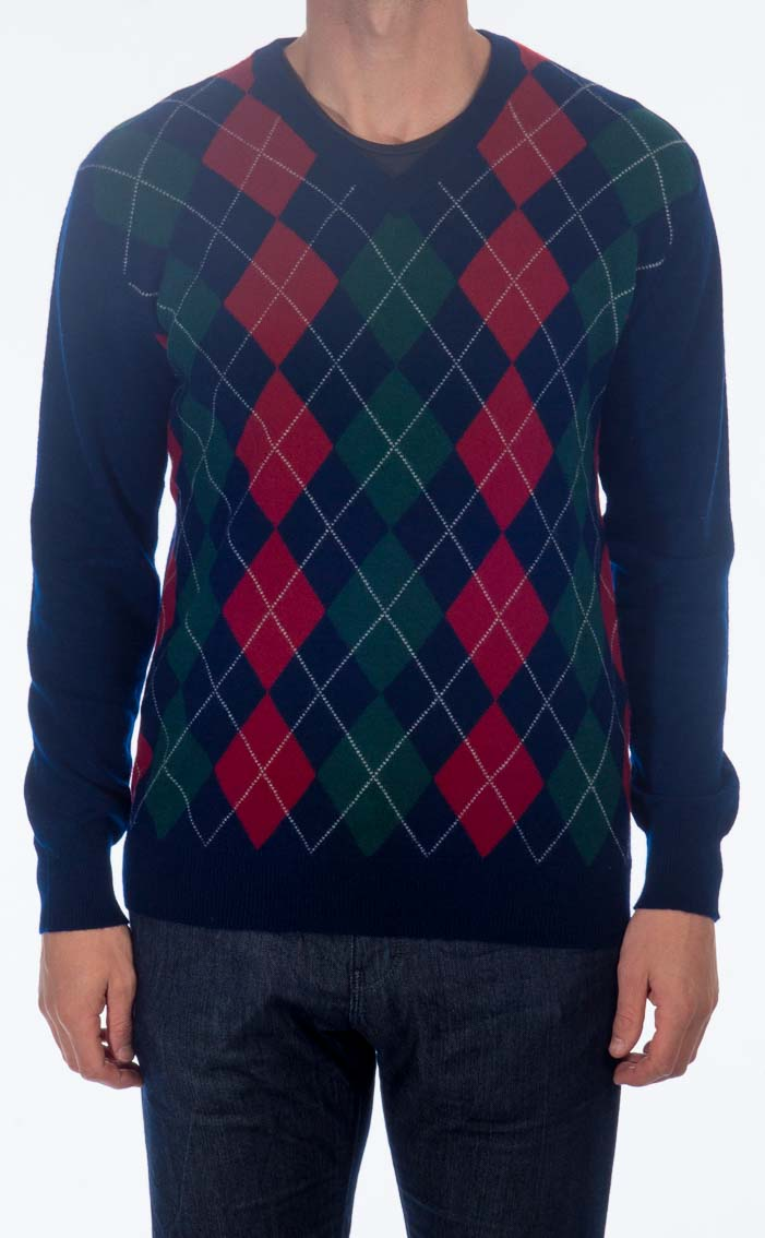 Gents Cashmere Argyle V-Neck Sweater by Scotweb