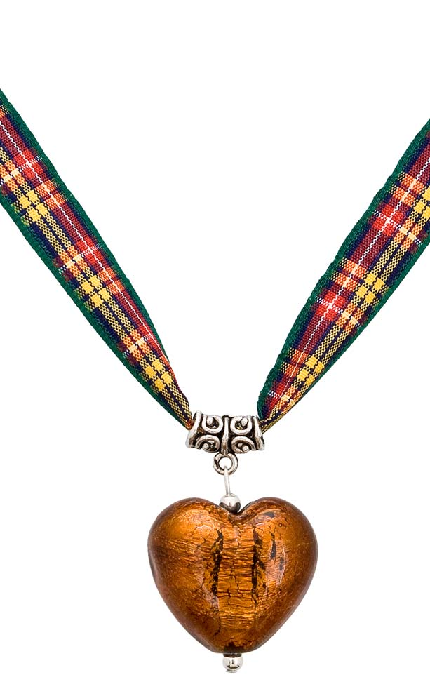 jewel heart tartan ribbon necklace by scotweb