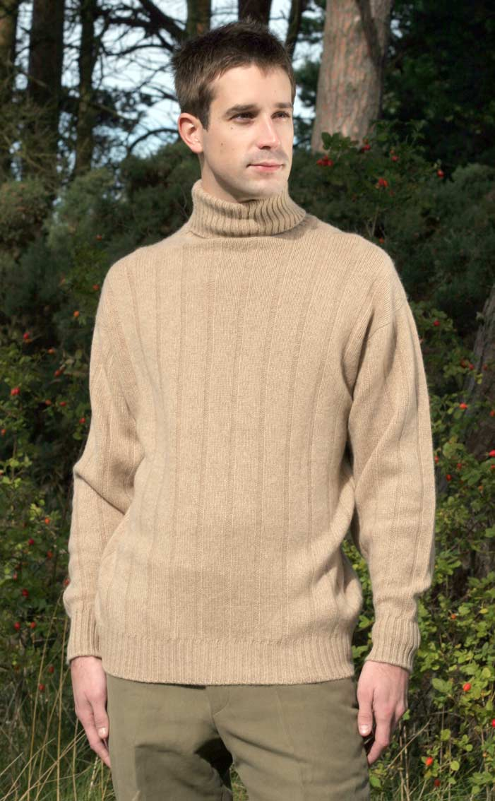 Gents Luxury Scottish Cashmere Sweater, Ribbed, Roll Collar by Scotweb