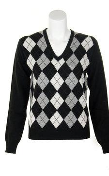 Scotweb Originals. Ladies Cashmere Argyle V-Neck Sweater 3eb3d618d