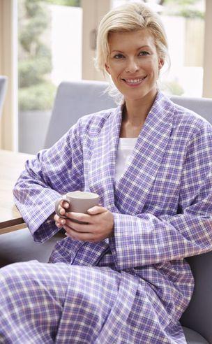 Ladies Tartan Brushed Dressing Gown