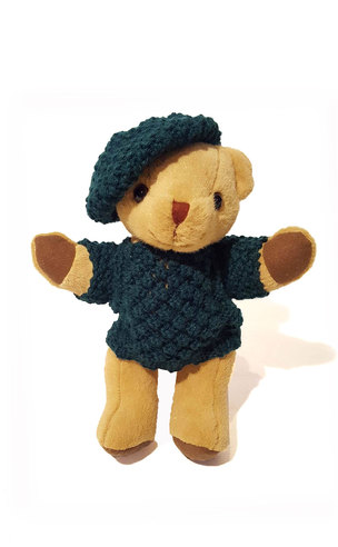 Teddy Bear wearing hand-knitted Aran Sweater and Cap
