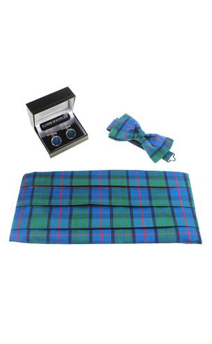 Silk Tartan Cummerbund, Cuff Links & Bow Tie Gift Set